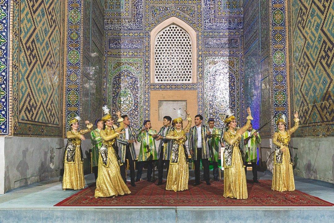 Traditional Uzbek concert and dance inside the Sher Dor Madrasah
