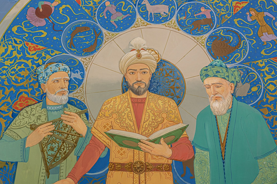 A painting of Ulugbek giving a lecture at the Ulugbek Observatory