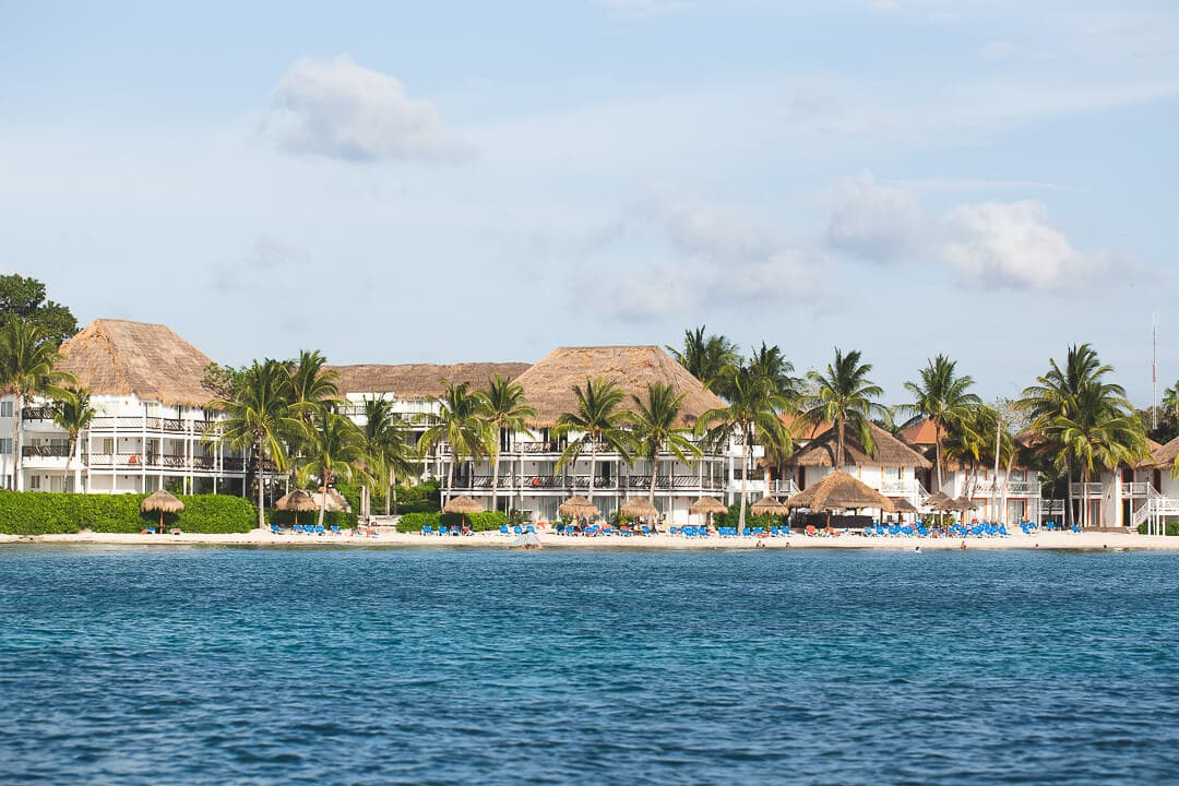 View of a resort along the shores of Cozumel, Mexico.