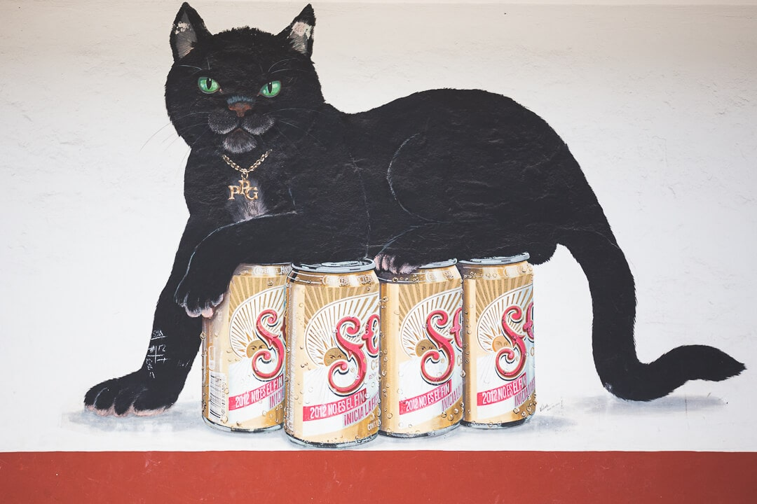 A painting of a black cat sitting on top of Sol beer cans outside of El Gato Negro cantina in Cozumel
