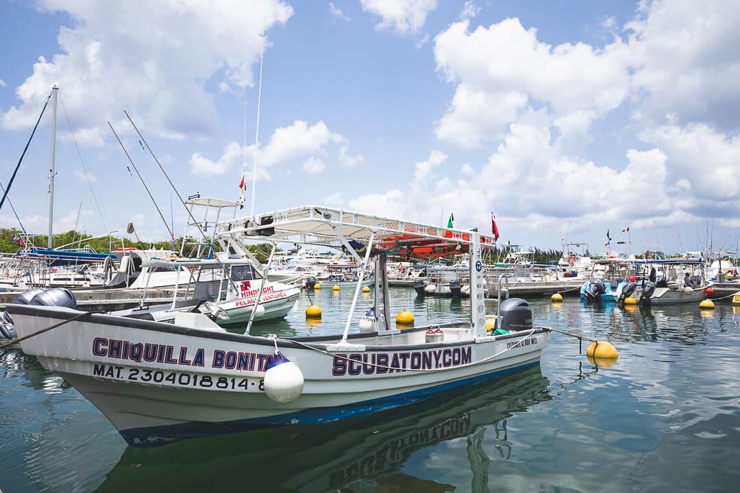 Scuba Tony boat docked in the marina in Cozumel, Mexico.