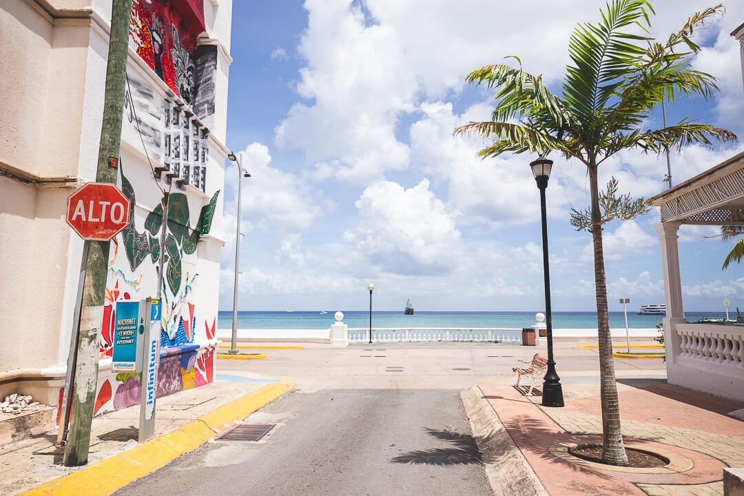 A street corner in downtown Cozumel looking out to the ocean
