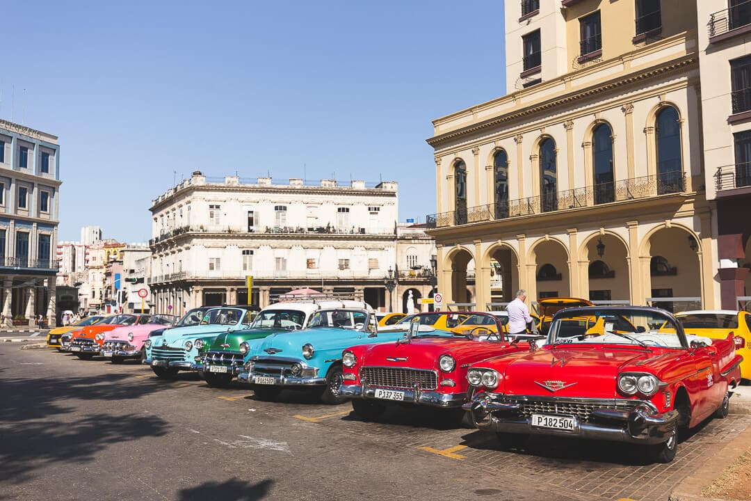 A line up of classic cars in Old Havana, Cuba