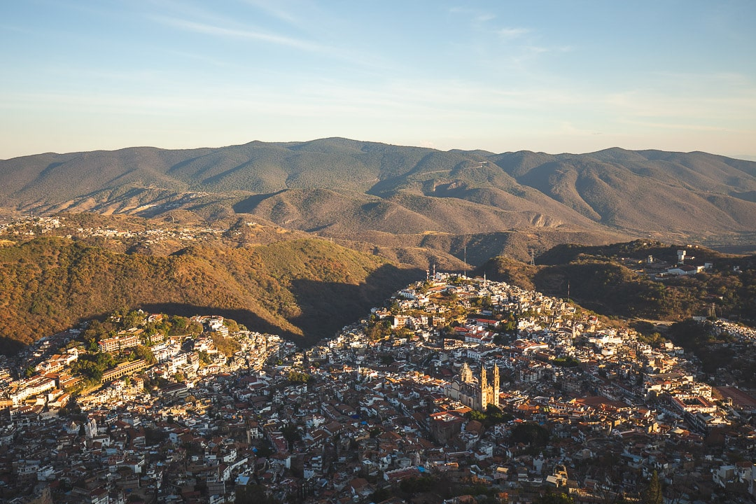 Sunset view over Taxco, Guerrero Mexico from above.