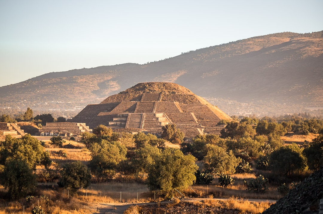 View of pyramid of the moon at Teotihuacan after sunrise