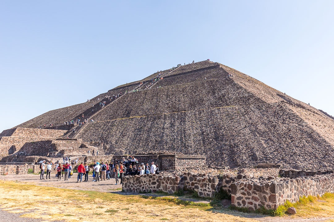 Pyramid of the Sun at Teotihuacan crawling with tourists