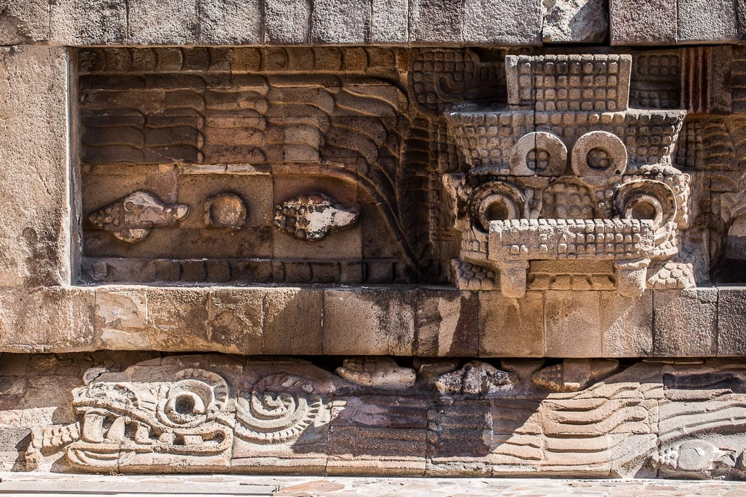 Image of Tlaloc at Temple of the Feathered Serpent Teotihuacan