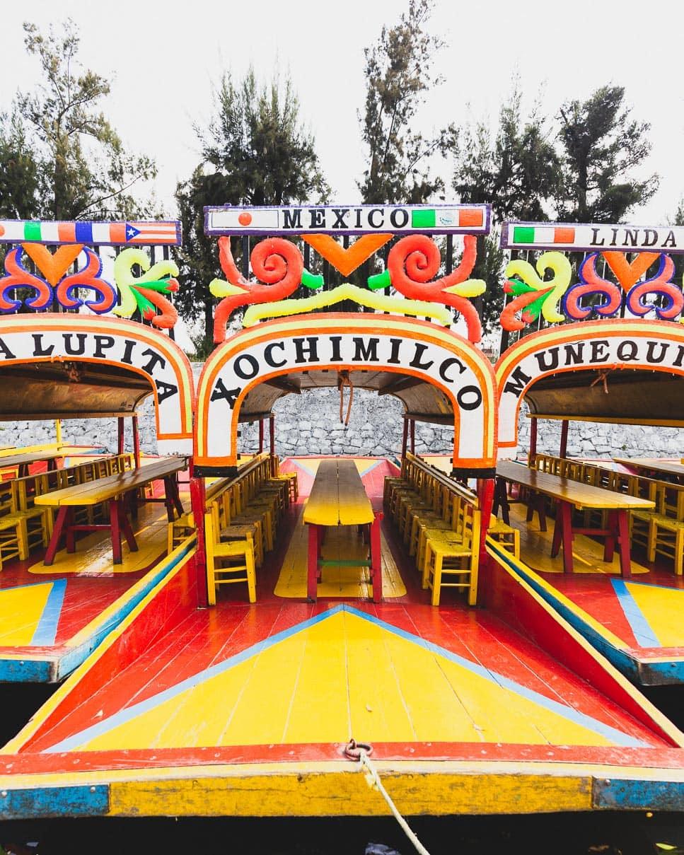 Trajineras at Xochimilco