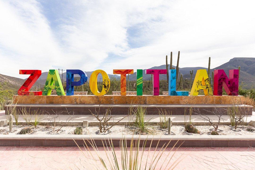 The tourism sign in Zapotitlan Salinas, Mexico